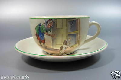 Vintage Old Mother Hubbard Transferware Childs Cup and Saucer Adams ESTP 1657