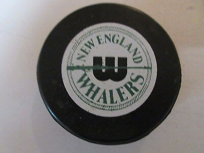 """New England Whalers WHA Screened Game Puck """" Made In Canada """""""