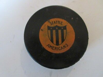 Seattle Americans Western Hockey League Game Puck 1955 - 1958