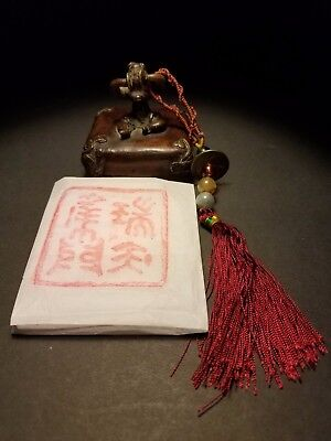 Rare Antique Chinese Carved Bronze Seal Stamp with Coin Tassel Aquamarine ...