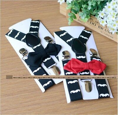 Mustache Children Kids Adjustable Elastic Suspender Clip Braces Brace + Bow