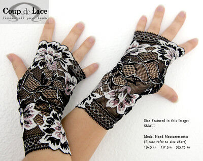Pair of Fingerless Lace Gloves - Black w/ White and Pink accents -Pick your size
