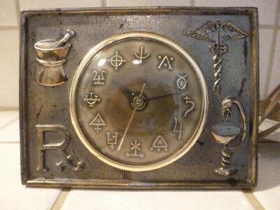 Vintage Pharmacy Alchemy Medical Symbol Electric Brass Desk Clock  Rare