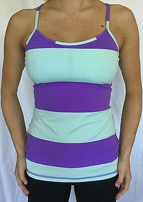 LULULEMON Size 6 Power Y Tank Run Yoga Racerback Bra Top Power Purple Blue EUC