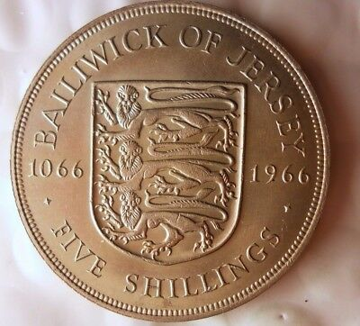 1966 JERSEY 5 SHILLINGS CROWN - AU/UNC - Rare Coin - Lot #115