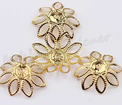 50Pcs Hollow Filigree Gold Plated Flower Bead Caps Findings DIY Jewelry 20mm