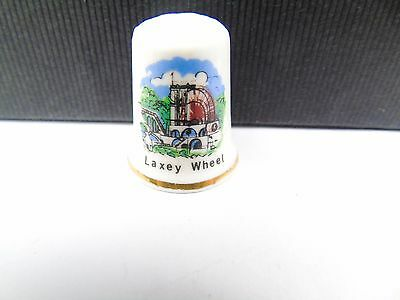 Vintage Laxey Wheel Isle Of Man Tourist Pottery Retro Collectable Sewing Thimble