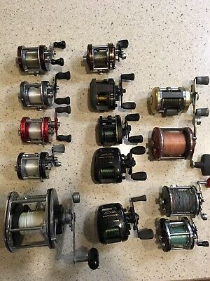 14 Pc. Lot of Old Fishing Reels, Baitcast and Deep sea