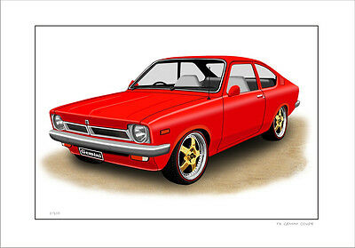 Holden  Gemini  Tx  Coupe Limited Edition Car Drawing  Print  ( 6 Car Colours )