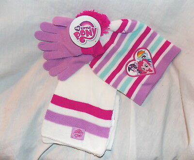 Girls My Little Pony 3 Piece Hat Gloves and Scarf Set - New with tag