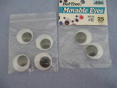 Bel-Tree Movable Eyes, 6 Pieces (25Mm) Black And White