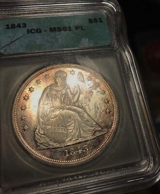 1843 Seated Liberty Silver Seated Liberty Dollar. ICG MS61 PL proof-like