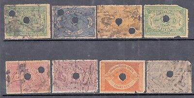 Pre 1800 Bahawalpur Lot Of 8 Court Fee Revenue Used Stamps Rare.4A,8A,re1,5,10