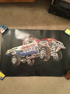 1980s Bridgestone Roger Mears Nissan Off Road Racing Poster Store Display RARE