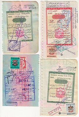 Uae 5 Different Revenue Stamps On 4 Different Documents.