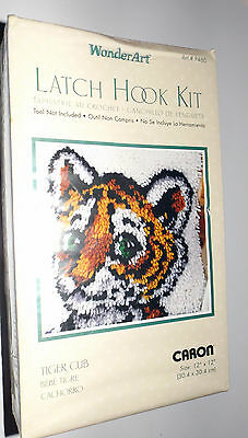 "Wonder Art Tiger Cub Latch Hook Kit -  12"" x 12"" NIP  with Instructions"
