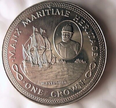 1982 ISLE OF MAN CROWN - MAYFLOWER - AU/UNC - Low Mintage Coin - Lot 115