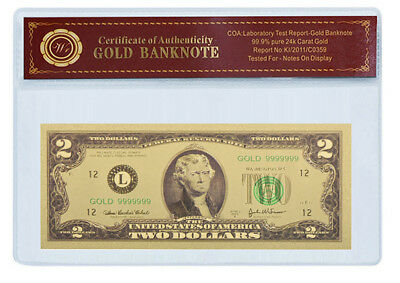 24K .999 Gold $2 Dollar Banknote with COA (Cert of Authenticity) BU CONDITION!