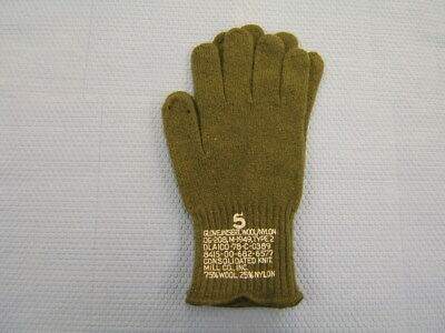 USGI US Military Issue D-3A D3A Wool Glove Liner, Size 5, Olive Drab, New