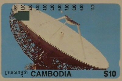 $10 Telstra Cambodia international Phonecard Satellite Dish used prefix 1446