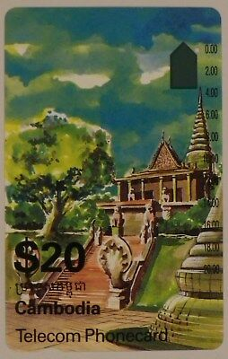 $20 Telstra Cambodia international Phonecard Temple one hole used prefix 185