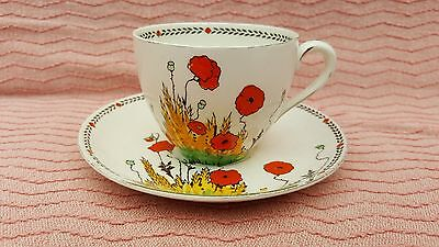 Beautiful Crown Ducal Poppy A1915 Cup And Saucer.