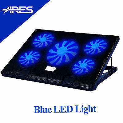 """ARES Black 5 Fans Notebook Cooler Cooling Pad Stand For 17"""" Laptop"""