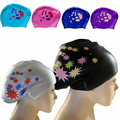1x Fashion Silicone Swim Cap Hat for Ladies Women Long Hair With Ear Cup th