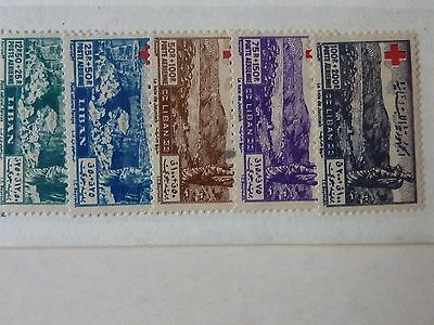 Lebanon  -  Sg  358 - 362 -  Five L/m/mint Stamps - 1947 Air Red Cross Fund