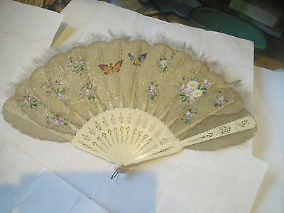 Beautiful Antique Victorian Feather & Bone Carved Fan - Sparkles, Minor Crack