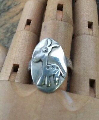 Unique Quirky Giraffe & Floral Band Handmade Sterling Silver Ring Sz 9 .Q010