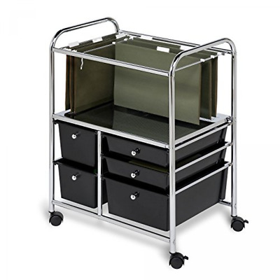 Rolling Utility Drawer File Cart Cabinet Hanging Folder Storage Organizer Office
