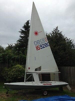 Laser sailing dinghy ,standard mast and sail size , with trolley ,