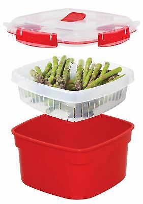 Sistema Microwave Rice Veg Steamer with Removable Steamer Basket 1.4 L Red/Clear