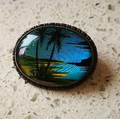 Vintage Art Deco Tlm Sterling Silver Morpho Butterfly Wing Picture Brooch Pin