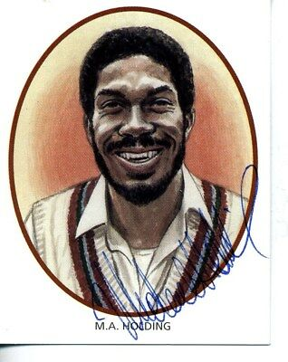 County Print Card: Derbyshire Cricketers SIGNED by Michael Holding