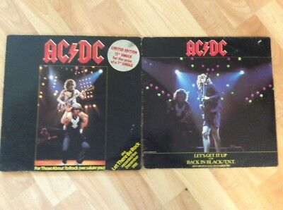 """AC/DC 2x12"""" vinyl singles Let's Get it Up/ For those about to rock metal 45rpm"""