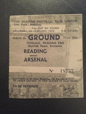 Ticket: Reading V Arsenal 05/02/1972 F.A. Cup