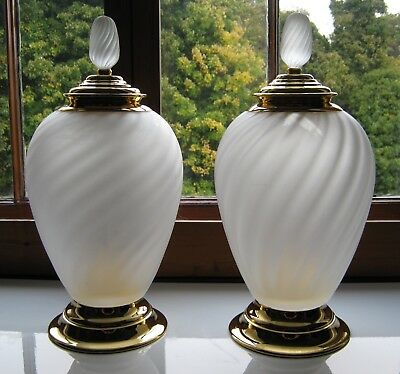 A Huge Pair of Frosted Glass and Gilt Metal Jars