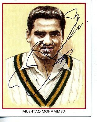 County Print Card: Northamptonshire Cricketers SIGNED by Mushtaq Mohammed