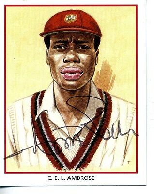 County Print Card: Northamptonshire Cricketers SIGNED by Curtley Ambrose