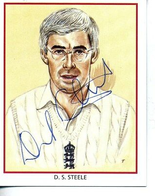 County Print Card: Northamptonshire Cricketers SIGNED by David Steele