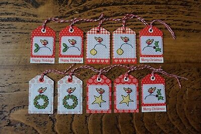 Christmas Completed Cross Stitch Gift Tags x10 christmas robins
