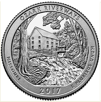 Usa Quarter National Park Ozark Riverways 2017 P D Or S Mint Estados Unidos Unc