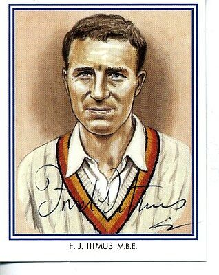County Print Card: Middlesex Cricketers SIGNED by Fred Titmus