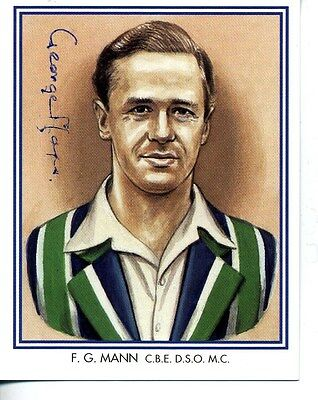 County Print Card: Middlesex Cricketers SIGNED by George Mann