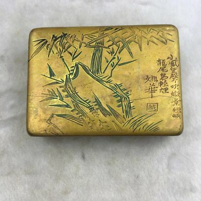 Chinese old copper brass  hand engraving bamboo and Word ink box