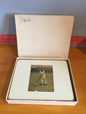 1960s 6 x MCC Boxed Table Mats Cricket themed inc WG Grace Courtenay Bros etc