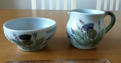 Vintage Buchan Portobello Scotland Bowl and Jug Thistle Finest Stoneware