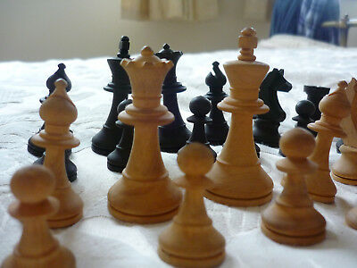 Vintage Wood Chess Set with Box